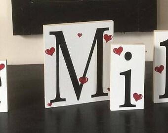 Be Mine with hearts, valentine blocks