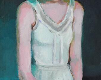 Naomi The dancer -ORIGINAL painting on mdf- art painting- Backstage - black- woman art-dance girl