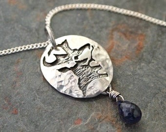 Antelope and  Iolite Necklace, Pronghorn Necklace, Antelope Jewelry, Antelope Pendant, Pronghorn, Antelope lover Gift, Antelope Head Pendant