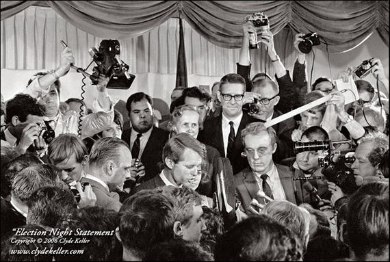 Robert Kennedy,  ELECTION NIGHT STATEMENT, Clyde Keller Photo, Fine Art Print, Black and White, Signed
