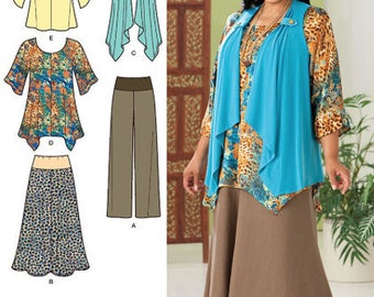 PLUS SIZE & MISSES Sewing Pattern ~ Khaliah Ali Collection Pants Skirt Tunic Vest 5 Sizes