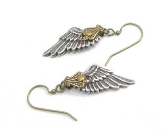 Angelic Whispers - Angel Wing Earrings, Winged Earrings, Wing Shaped Earrings, Lightweight Earrings, Fallen Angel Earrings, Skyward