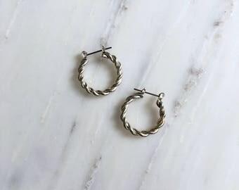 Twisted Hoop earrings | silver hoop earrings | vintage hoops