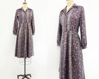 70s Shirtwaist Dress Vintage Midi Dress 1970s Paisley Dress Vintage Day Dress 70s Secretary Dress Shirt Dress 70s Office Dress s