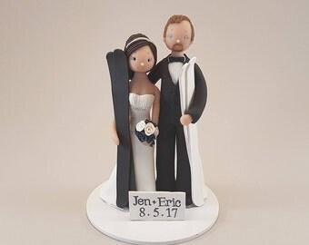 Bride & Groom Custom Snowboard/ Ski Theme Wedding Cake Topper