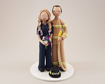 Unique Cake Toppers - Firefighter & Nurse Personalized Wedding Cake Topper