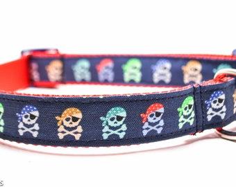 Navy Skulls Dog Collar / Lime, Blue, Gray Boy Skull / Martingale or Buckle Custom Dog Collar / Exclusive