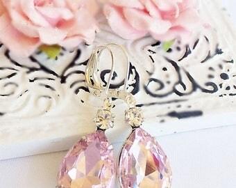 SALE 20% Off Crystal Earrings - Pink - Summer Earrings - Romantic - MAYFAIR Pink Ice