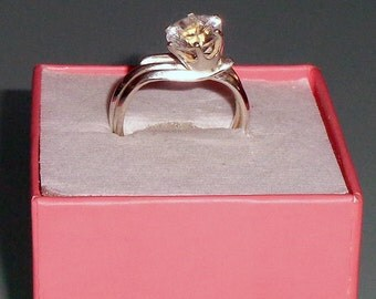 Healing Diamond Quartz Crystal Concave Cut Sterling Silver Ring