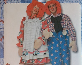 Raggedy Ann & Andy Costume Pattern Simplicity 9370 Unisex Adult Size XS,S,M,L,XL