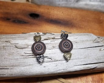Silver, Copper and brass beaded earrings