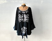 Plus Size Sweatshirt Long Black Tunic Union Jack Flag Women's Oversize Top Eco Conscious Clothes Bell Sleeves Boho Clothing 2X 3X 'DAPHNE'