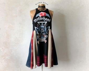 DIY Concert Tee Rocker Chic Patchwork Dress High Neck Tank Motorhead Clothing Fit Flare Boho Upcycled Black Sundress Eco Fashion L 'ROXIE'