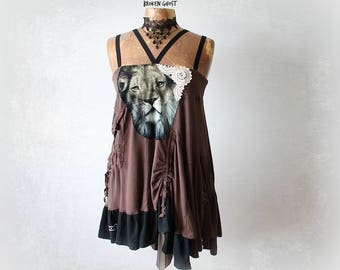 Lion Shirt Boho Draped Top Up Cycled Clothing Strappy Tank Cargo Style Long Length Urban Chic Clothes Eco Fashion Brown Gypsy Top L 'WYNN'