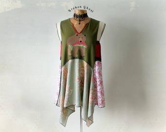 Woodland Top Boho Chic Tunic Recycled Shirt Grizzly Bear Country Clothing Women's Draped Top Plus Size Lagenlook Clothes XL 1X 'KOURTNEY'
