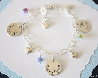 Name Charm Mother Bracelet Personalized, 3 Names Bracelet, Grandma Bracelet, Sterling Silver Charm Bracelet, Monogram Bracelet