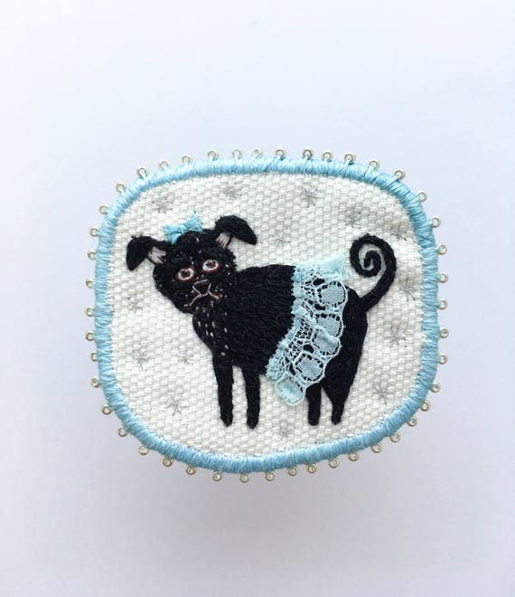 Embroidery Dog Brooch with black Pug Lady -  Funny Dogs - collection, hand embroidered textile dog jewelry. Terrier brooch.