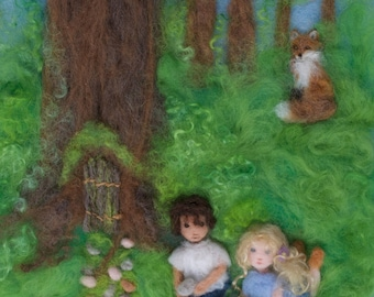 Summer Fairy Garden Wool Painting Illustration Giclee Print from Seasons of Joy, Signed