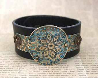 Leather Bracelets for Women, Vintage Jewelry, Vintaj Jewelry, Boho Jewelry, Cuff Bracelet, Turquoise Bracelet, Brass Jewelry