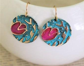 Flower Earrings, Floral Earrings, Vintaj Jewelry, Nature Jewelry, Boho Jewelry, Patina Jewelry, Pink and Blue Jewelry, Circle Earrings, Gift