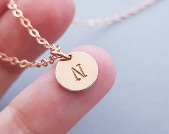 Rose Gold Necklace 1 initial disc personalized christmas gifts for women initial necklace custom initial jewelry monogram jewellery