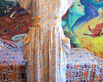 80s does 40s dress, Floral dress, Flower dress, Summer dress, Garden party dress, size M / L