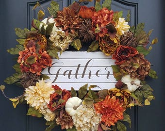 FALL WREATHS, Fall Front Door Wreaths, Pumpkins Fall Decor, Hydrangea Wreaths, AUTUMN Wreath, Fall Home Decor, Wreaths for Fall