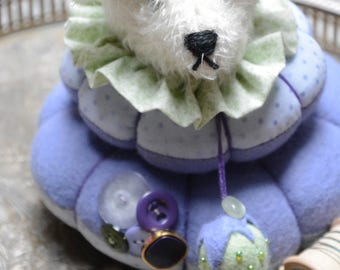 Artist Bear Pincushion, Pincushion, Pinkeep, Art Doll, Bear Pinkeep, Sewing Table Accessories