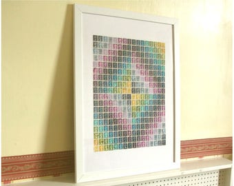 Kaleidoscopic Postage Stamp - Framed Wall Art, British stamps