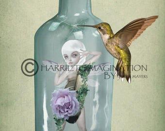 Fairy Art Print - Fairy & Hummingbird - Faery Art - Hummingbird Artwork - Fantasy Art - Not Long Now