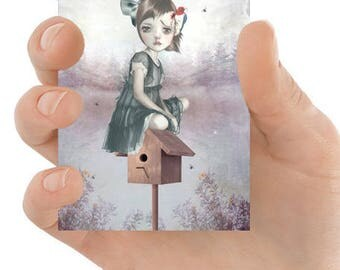 ACEO Card | Girl & Woodpecker | ACEO Art Print | Artist Trading Card | Miniature Print | Far From Home