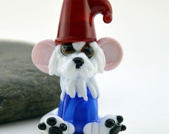 GNOME dog whimiscal focal glass lampwork bead, collectible dog bead, Izzybeads SRA