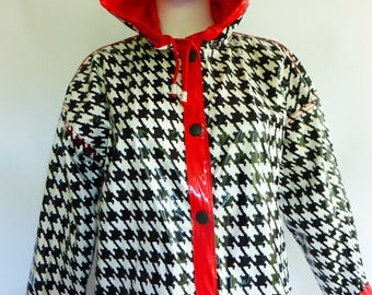 1980s Vinyl Rain Coat Reversible Red to B&W Houndstooth OSFM New Wave