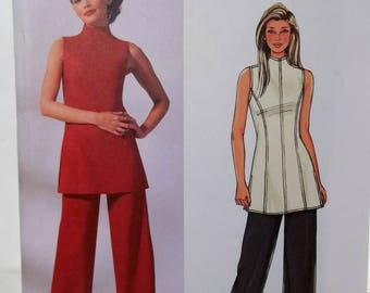 Misses' Fashion Separates, Butterick B4237 Sewing Pattern, Sleeveless Tunic Top, Loose Fit Pants, Easy to Sew Size 6 - 10 UNCUT Pattern