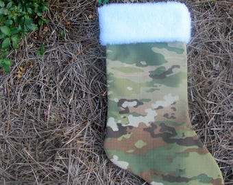 Multicam Army lined Christmas stocking with white fur cuff on top