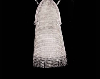 Silver Flapper purse / vintage Whiting & Davis mesh purse /  Art deco fringe  / Vintage chainmaille purse / cathedral frame / original  tag