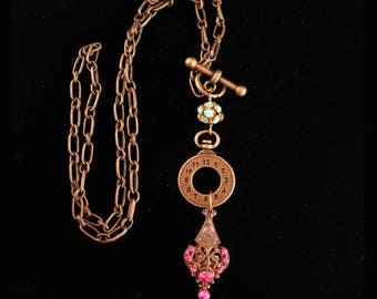 Antique Victorian Fob /  victorian style necklace / Pocketwatch charm /  vintage watch chain / pink rhinestone charm necklace / assemblage