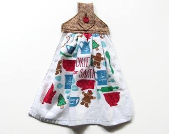 Hanging Christmas Kitchen Towel - Cookies For Santa Hanging Towel - Gingerbread Boys Fabric Top Christmas Towel