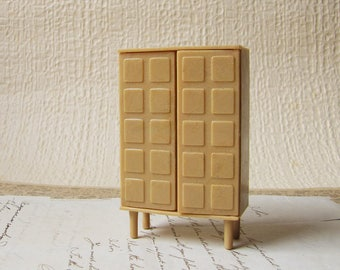 vintage dollhouse wardrobe - mid century modern plastic cupboard - two door armoire - 1960s 1970s - Made in Hong Kong