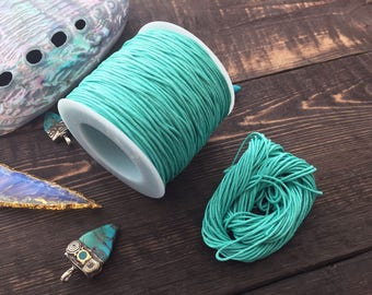 Fresh Mint : 1mm Braided Cotton Cord, 25ft (8.33 yards) / Perfect for Shamballa, DIY Supplies, Cotton Twine, Cotton Cording, Green, Supplies