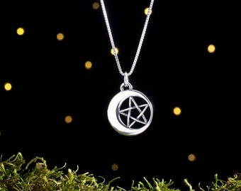 Sterling Silver Pentagram in the Moon - Pentacle - Double Sided - (Pendant or Necklace)