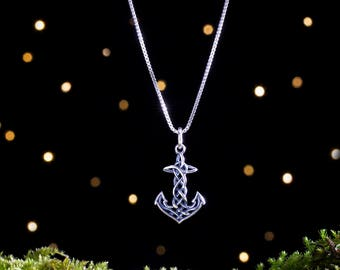 Sterling Silver Celtic Anchor - Small, 3D Double Sided - (Charm or Necklace)