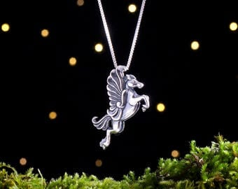 Sterling Silver Pegasus - 3D Double Sided - (Pendant or Necklace)