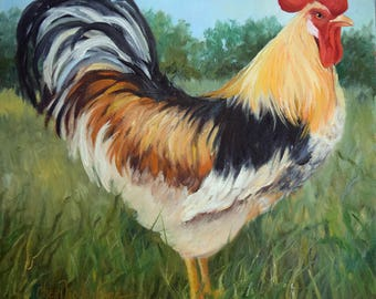 White Black Gold Rooster Painting,Kitchen Wall Art,Original Canvas Oil Painting by Cheri Wollenberg