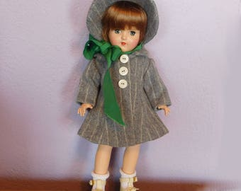 "Vintage Doll Clothes Coat and Hat for Ideal Toni P-90 14"" - Gray Wool Pinstripe w/ 3 Buttons - 1950s Era - Mid-Century- Matching Bonnet"