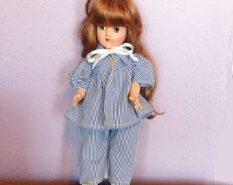 "Vintage Doll Clothes Pants and Top for Ideal Toni P-90 14"" - Blue & White Striped 2-Piece Play Outfit - 1950s Mid-Century Style - Well Made"