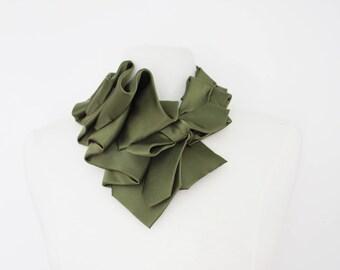 Aster - Olive Tuxedo Satin Necktie Ruffle Collar