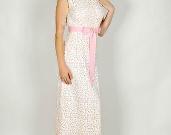 Prom Dress, Long Lace Dress, Vintage Prom Dress, Cotton Lace Dress, Maxi Length, Bridal Dress Lace, Sleeveless Dress, Preppy Dress, Size S