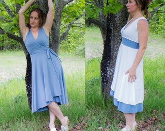 Lana Reversible Wrap Dress - Organic Fabric Made to Order - Lined Bust - Adjuable Fit - Many Colors to Choose From - Summer Eco Fashion