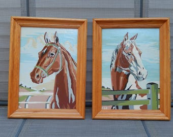 vintage paint by number, horses, 2 framed paintings, ready to hang, equestrian theme, wall hangings